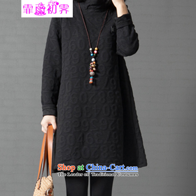 The beginning of the rain. Arpina ji�15 winter clothing new Korean large relaxd stylish women wear long-sleeved pattern number dresses�5燘lack燲XL