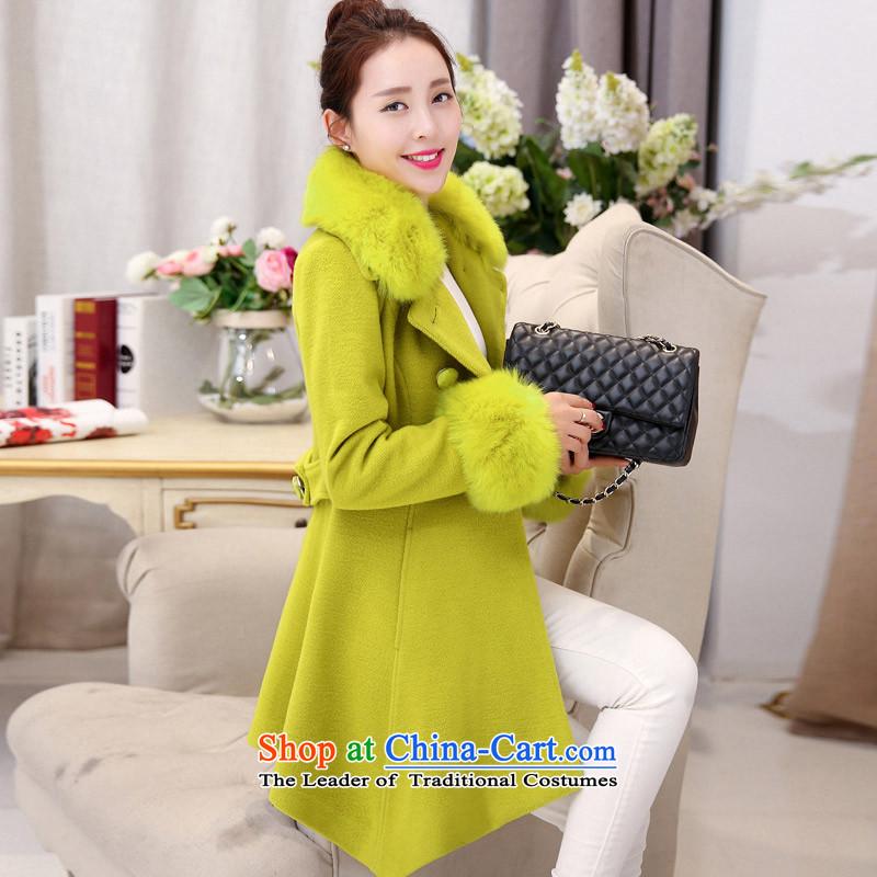 In the Hyatt gross girls jacket? Long Wave autumn and winter 2015 winter clothing new Korean women's gross collar? 11 light green fruit coats燤