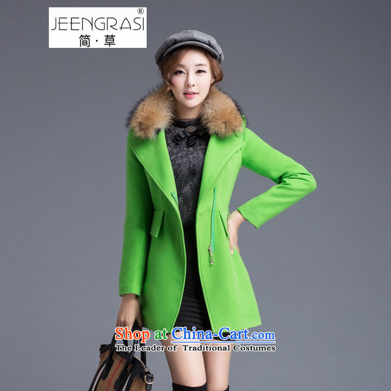 Pull the fuser coats female Korean female woolen coat 2015 Fall_Winter Collections in the large long loose coat video thin is Ms. green grass and sub- L