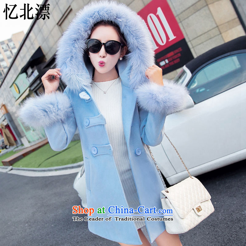 Recalling that the 2015 Autumn and Winter North drift-new Korean women's stylish and simple gross butted? long hair with students with long-sleeved cap a wool coat women 1683 2,005M