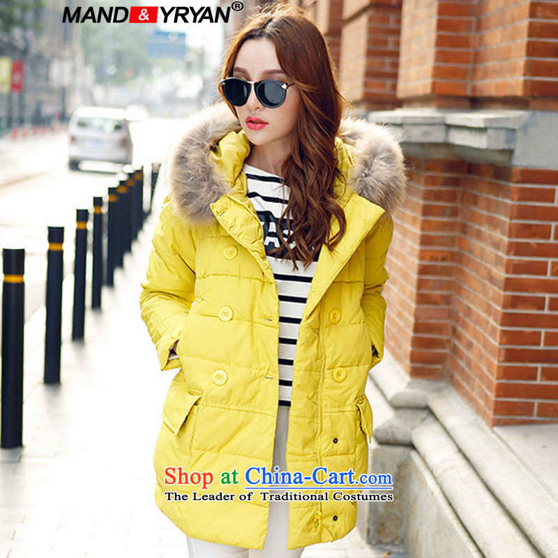 Mantile en code women for winter coat jackets with long thick MM cap with a loose cotton clothing gross robe jacket yellow 2583 XXXL150-160 around 922.747