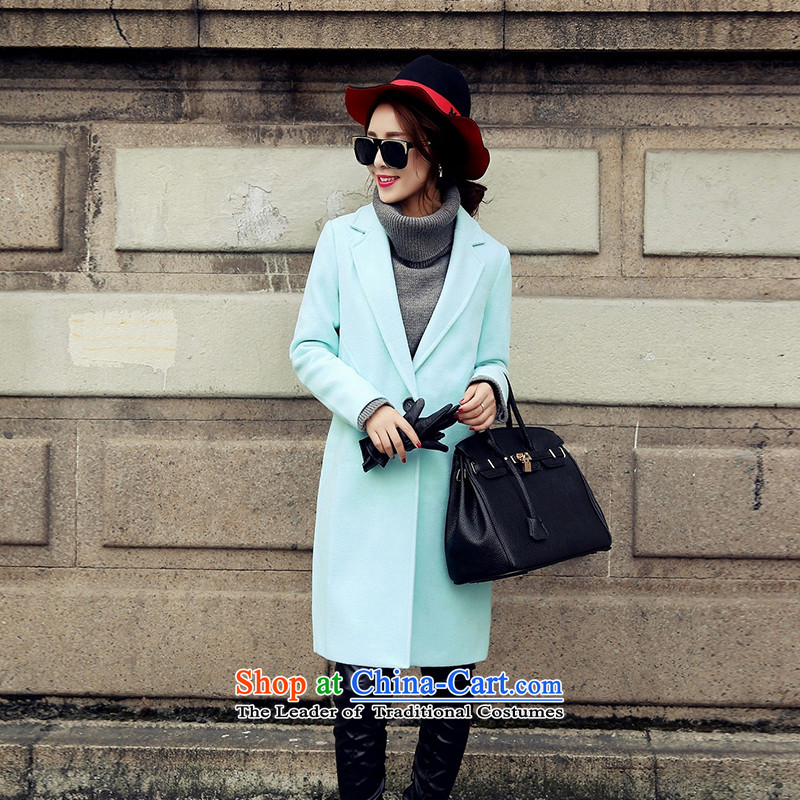 In the autumn and winter Yue new stylish gross in long wind? jacket POO light green燤