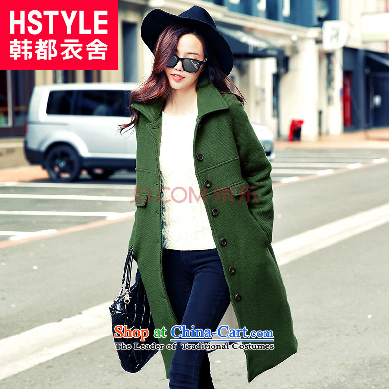 Korea has the Korean version of the Dag Hammarskjöld yi 2015 winter clothing new products with stylish youth Sau San video in the stitching thin long hair DL4571 Restaurant Green Jacket? M