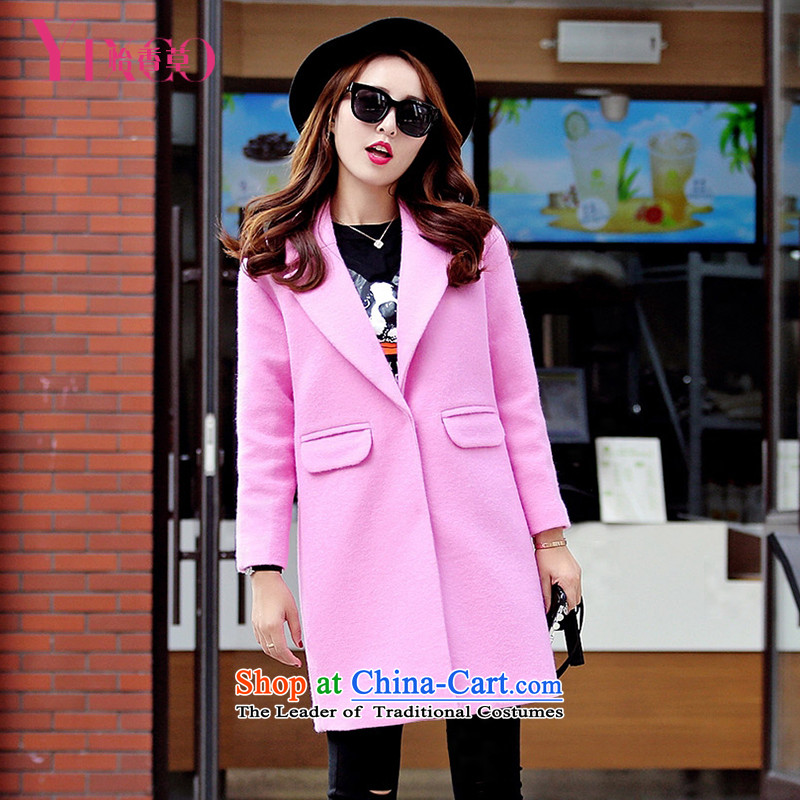 Selina Chow herbs 2015 winter clothing new Women's jacket? gross pink small wind jacket in Hong Sau San long double-coats large Sau San? jacket Korean thick better RED M