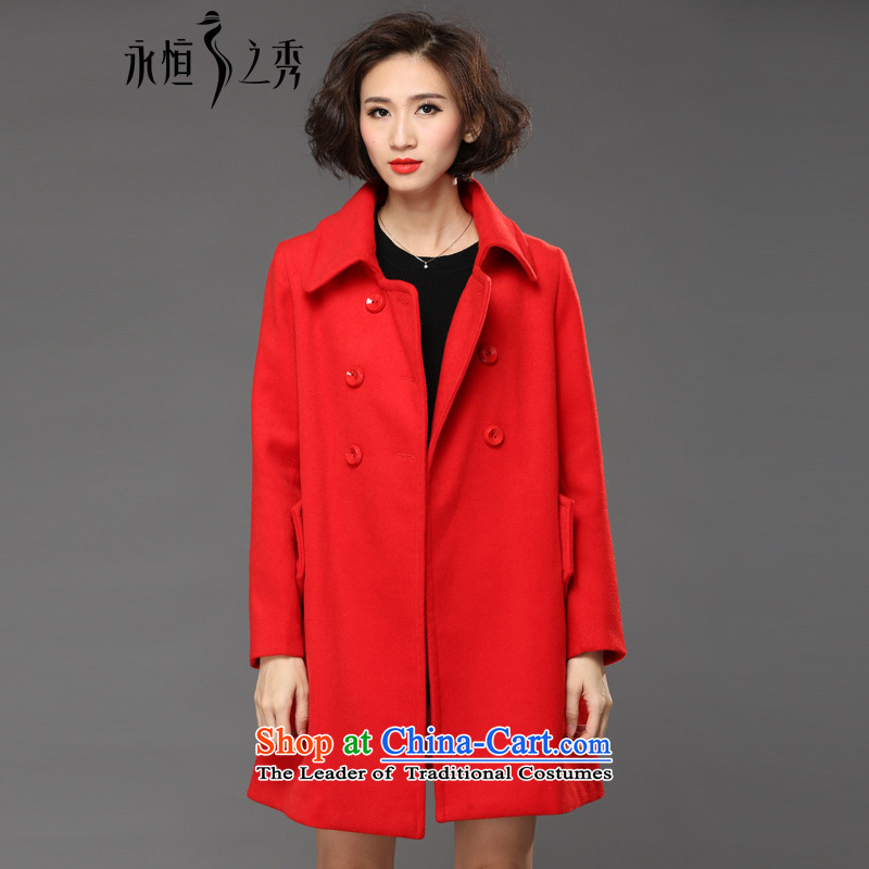 The Eternal Soo-to increase women's code gross coats jacket thick mm? sister 2015 autumn and winter Korean people video thin, thick winter coats girl in gross? Long Red�L