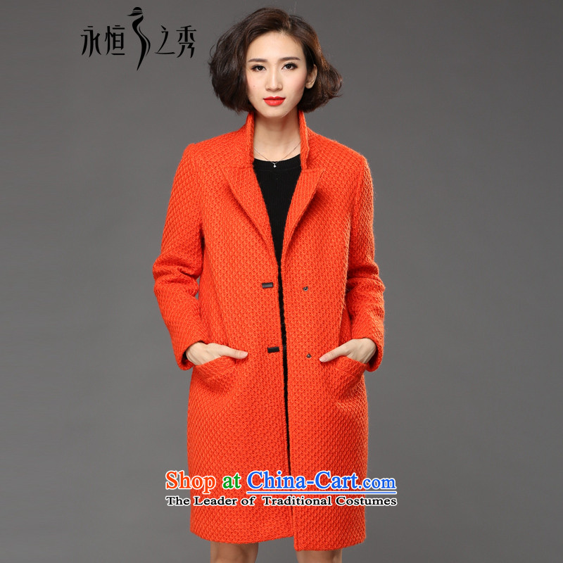 The Eternal Soo-to increase women's code gross coats jacket thick sister? 2015 Fall/Winter Collections of new products, Hin fat mm thick, thin hair stylish Korean Red Jacket4XL?