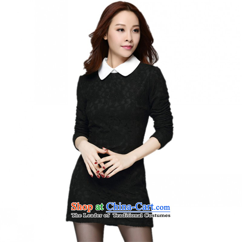 C.o.d. Package Mail 2015 winter clothing new xl girl who decorated lace dresses in long-sleeved long), forming the lint-free t-shirt lapel winter skirt)about 2XL Black thick 140-160 characters catty