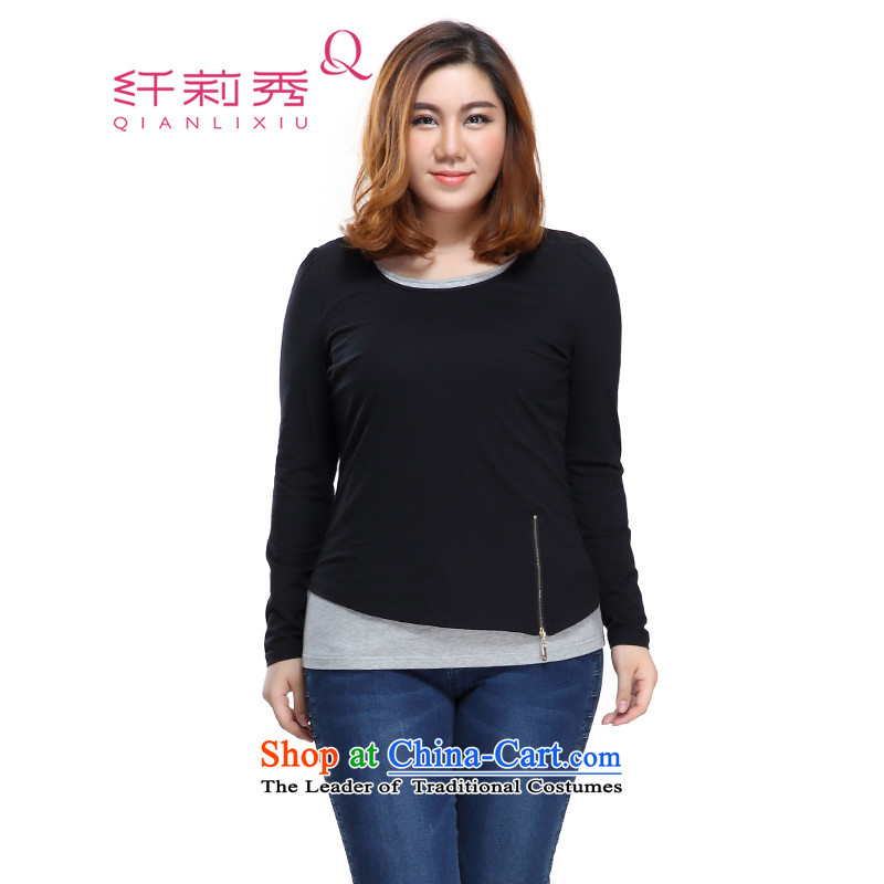 The former Yugoslavia Li Sau 2015 Fall_Winter Collections new larger female cotton not under rule leave two piece stretch Knitted Shirt聽3XL 0958 Black