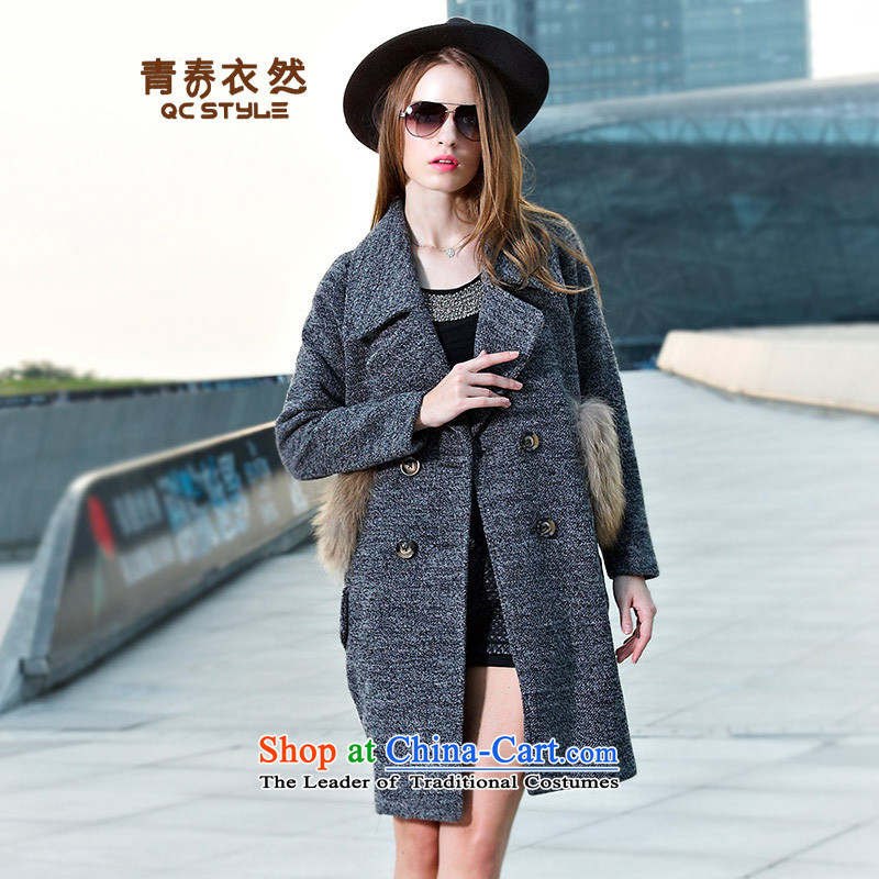 Yi so that young women 2015 gross jacket for autumn and winter wind in the new Europe long temperament a wool coat female reverse collar double-Gray聽L