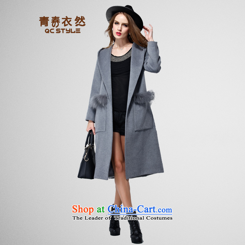 Youth Yi So 2015 winter new European and American Women's larger gross girls jacket? long graphics thin cap Sau San a wool coat Gray L