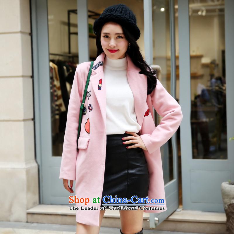 Wooden Geun-hye lapel temperament Sleek and versatile? 15013 pink jacket gross燲XL_175_96A_