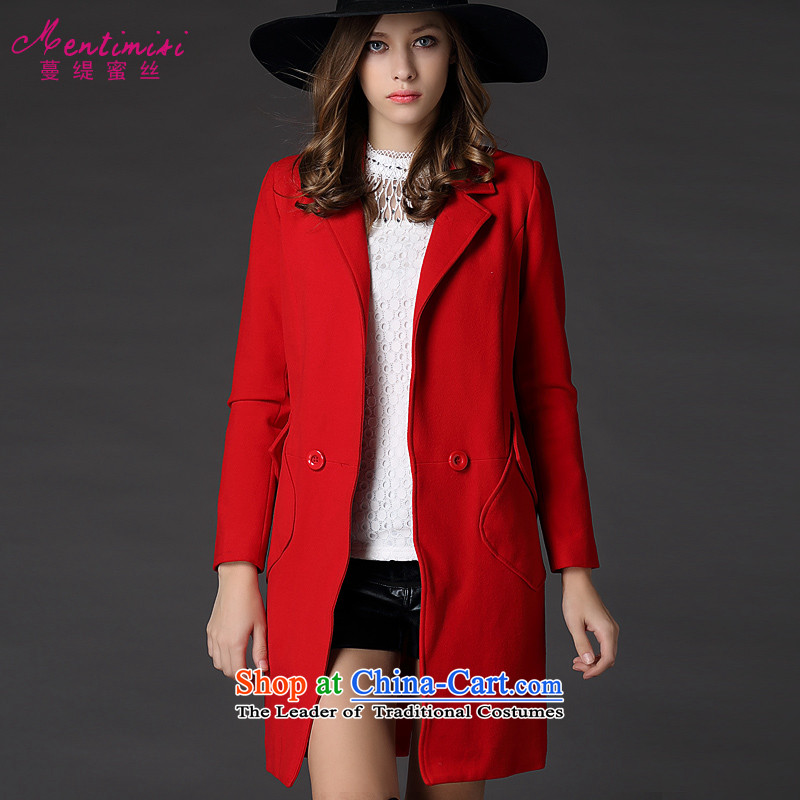 Overgrown Tomb economy's code women honey jackets autumn and winter thick MM loose video in thin long overcoat5 226big red code 5XL around 922.747 200