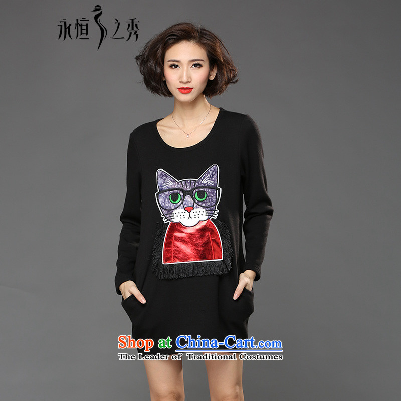 The Eternal Soo-winter dresses to increase women's code 2015 autumn and winter sister thick with thick mm t-shirt with round collar 200 catties larger dresses long-sleeved black聽3XL