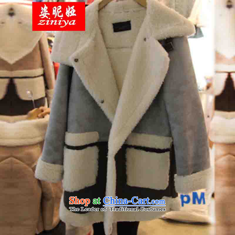 Gigi Lai Young Ah to increase women's code thick mm thick cotton jacket sister Lamb Wool long-sleeved T-shirt autumn and winter cotton coat燲XXXXL Gray