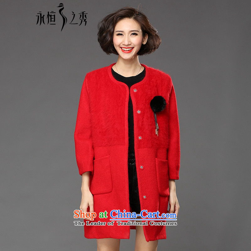 The Eternal Yuexiu code female jackets thick mm sister 2015 Fall_Winter Collections new Korean fashion, Hin thin, thick hair knitted to really increase the autumn large red 3XL Jacket