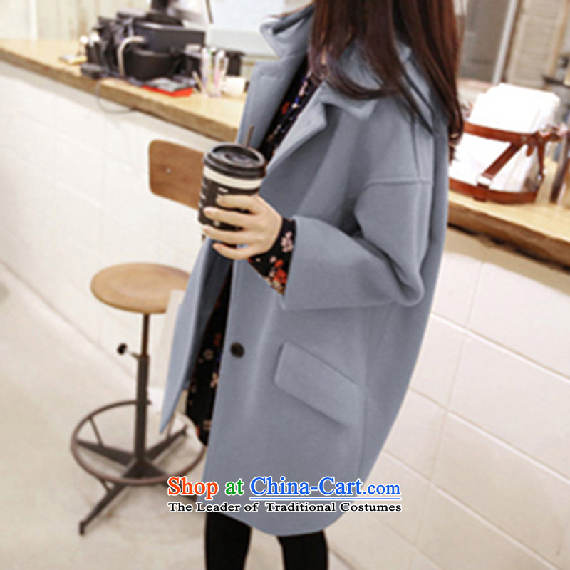 Morcar Connie snow 2015 autumn and winter new Korean trendy code in women's long hair jacket light blueM?