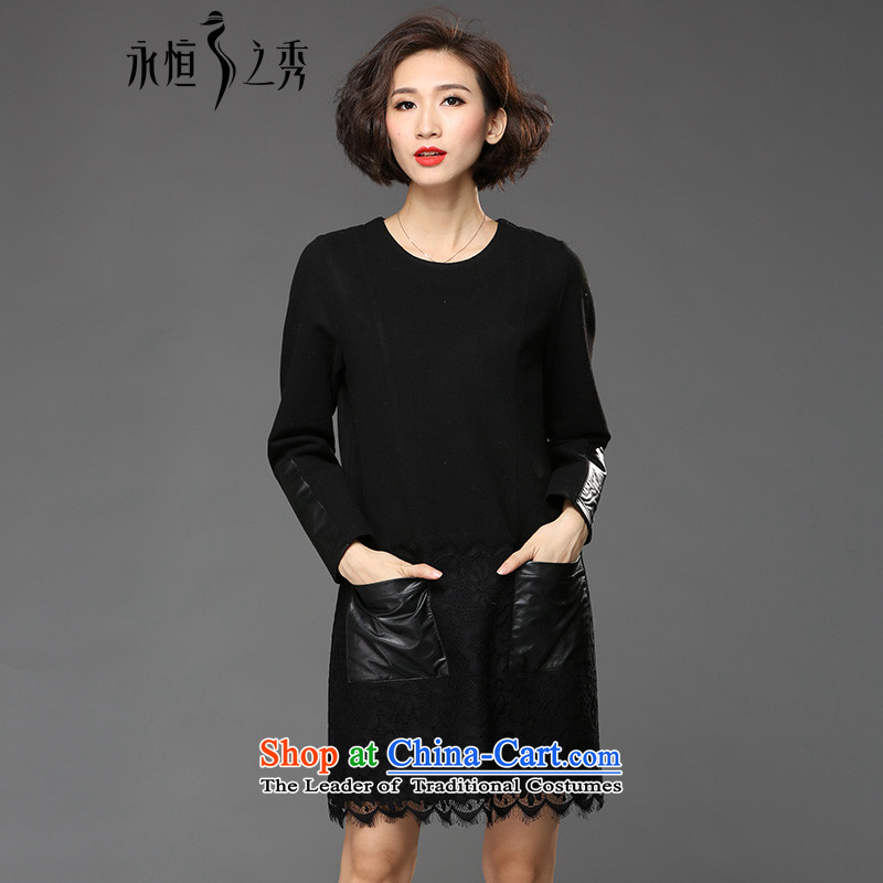 The Eternal-soo to xl female lace dresses 2015 Fall_Winter Collections thick, Hin thin new fat mm sister winter skirt wear long-sleeved black skirt?4XL