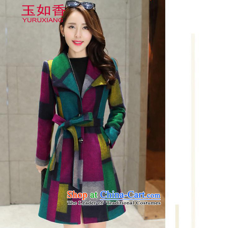 Yuk-yu Heung 2015 autumn and winter new women's a wool coat grid Jacket Color collision Sau San in long hair? jacket for the Green Grid Color燣