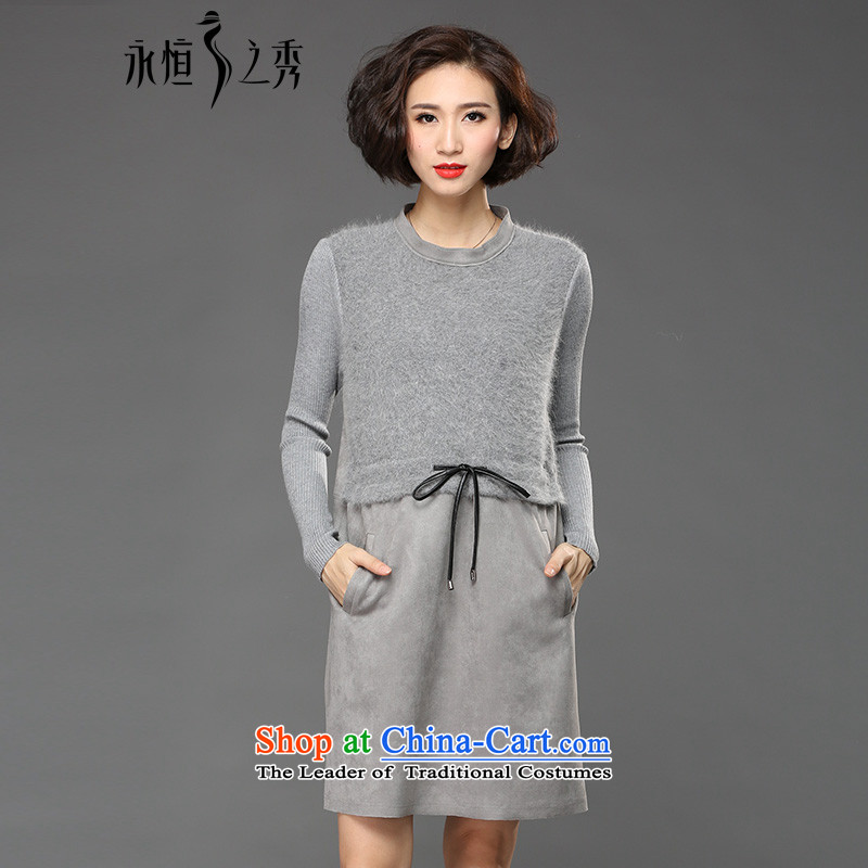 The Eternal-soo to xl women's dresses 2015 Fall/Winter Collections of new products and expertise of western sister mm thin, video winter skirt wear long-sleeved gray skirt 3XL