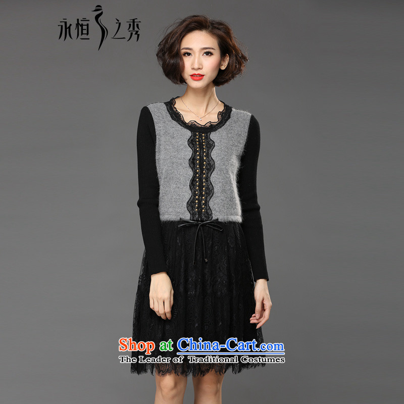 The Eternal Soo-winter dresses to increase women's code 2015 autumn and winter sister thick with thick, Hin thin new fat mm lace skirt wear long-sleeved black skirt�L