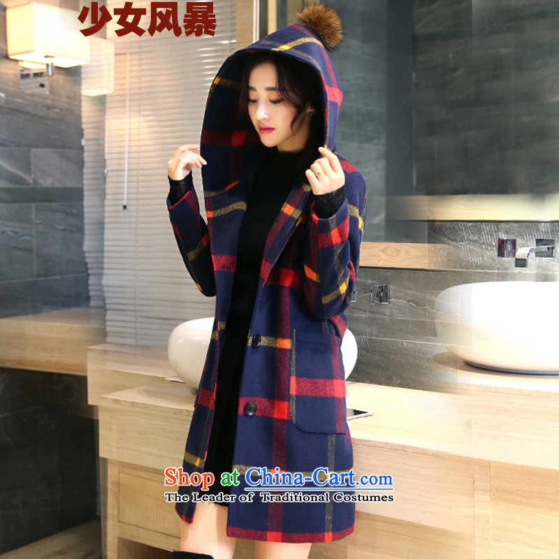 2015 Autumn and Winter Storm girls_ grid gross girls coat? Long Korean Sau San with cap? coats latticed cloth red and yellow color of the燲L