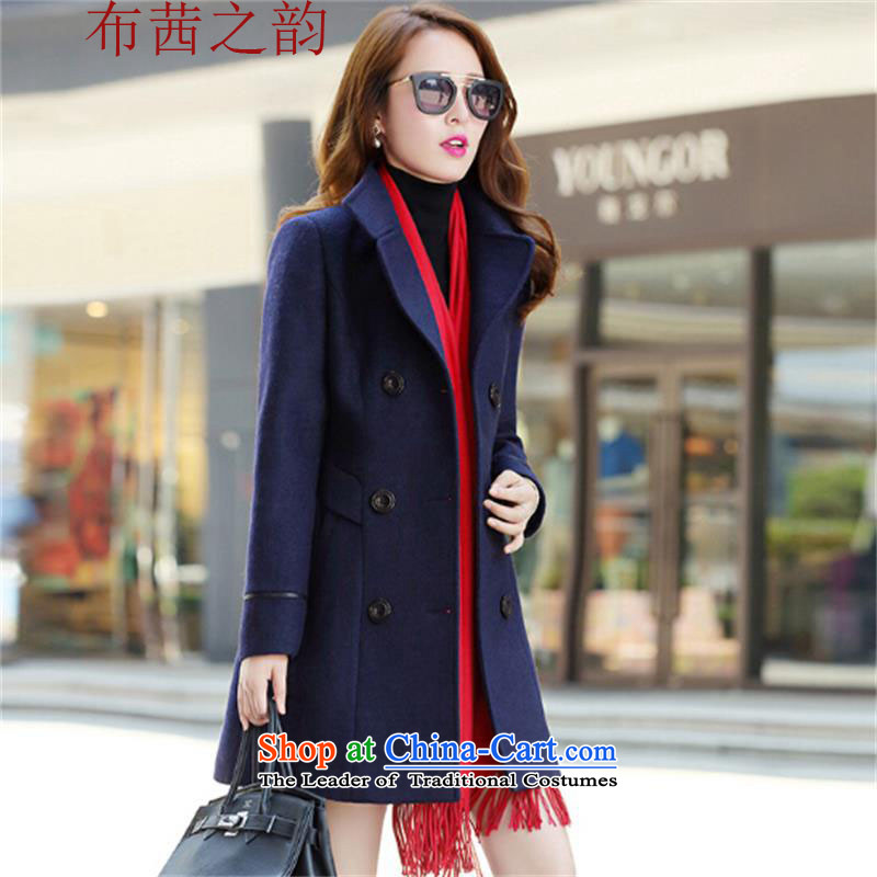 The Qian The Rhyme 2015 autumn and winter new Korean version in the Sau San Long Large? double-female coat a wool coat jacket coat? female gross navy blue M