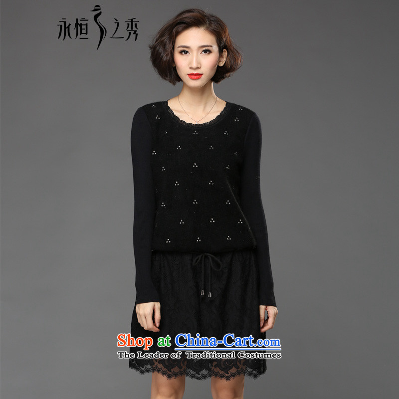 The Eternal Soo-XL women's dresses winter 2015 mm thick Korean version of SISTER lace to increase the burden of autumn and winter 200 dresses knitting black long-sleeved聽3XL