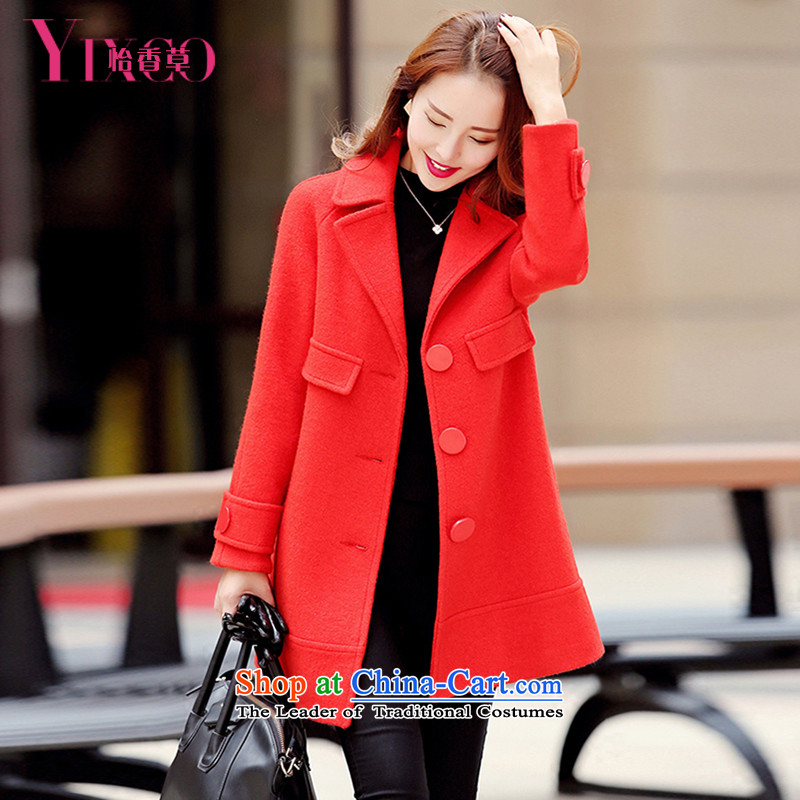 Selina Chow herbs 2015 winter clothing new women's small-Wind Jacket Women?   Gross video thin pink coat Korean version of this long large relaxd wool a wool coat female orange M