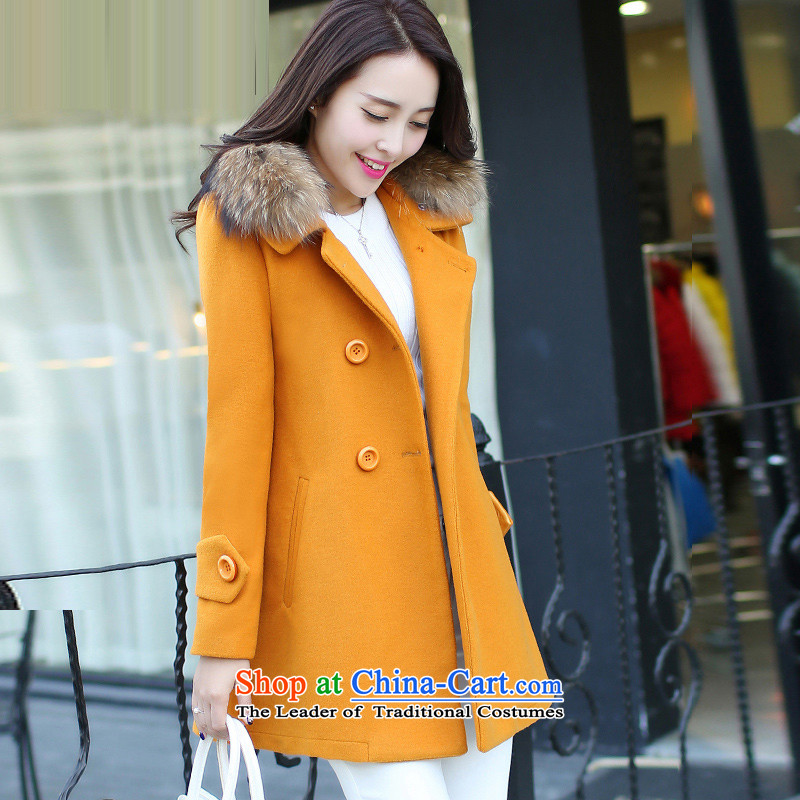 Sin has2015 winter clothing new large Korean long in Sau San double-gross for a wool coat absenteeism ancient Yellow thick warmL