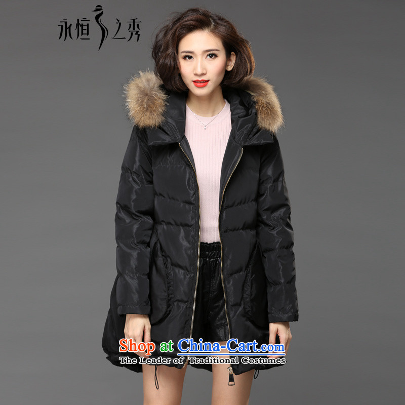 The Eternal Soo-to increase women's code cotton coat jacket thick sister 2015 winter clothing new product expertise, Hin thick mm thin in Europe long hair really tie Cap Black聽3XL 脙脼脪脗
