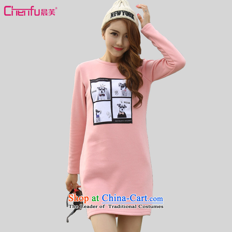 Morning to 2015 autumn and winter large female new Korean Sau San graphics plus round-neck collar thin lint-free thick dresses dog stamp not lint-free sweater cheongsams pink�L recommendations 140-150catty