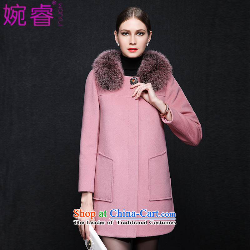 Yuen-core women 2015 winter clothing new Fox for video in gross thin long coats gross Is What charisma jacket pink M