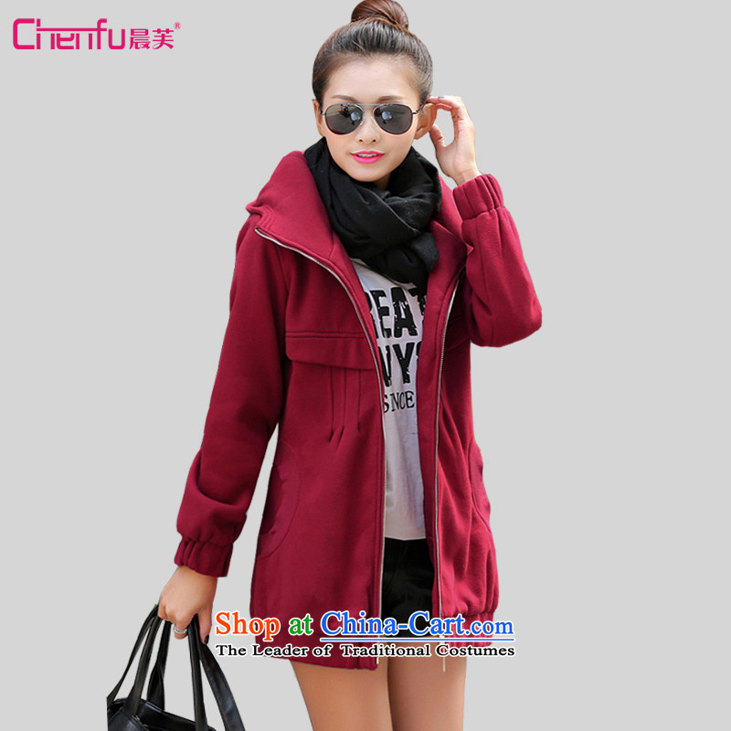 Morning to 2015 autumn and winter new to increase female Korean version of code is a thick jacket Sau San Fat MM stylish video warm thin red sweater燲L_ recommendations 120-135 catties_
