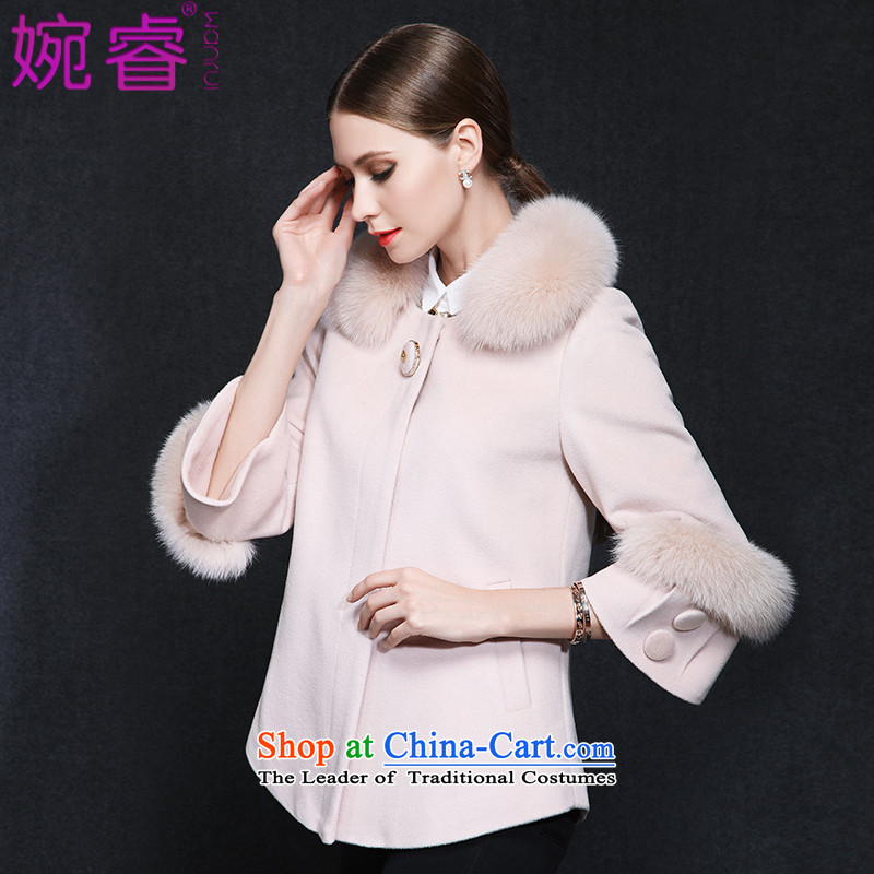 Yuen-core women 2015 winter clothing new stylish Fox for video temperament thin hair 9 short-sleeved) commuter gross? female pink jacket L