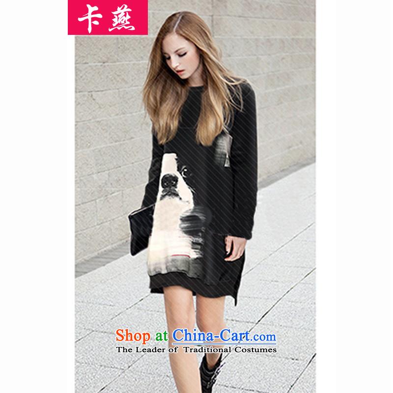 燭he new 2015 Yan card xl women short skirts thick mm Mount relaxd autumn dresses Thick Long A sister in the field establishment of 200 catties 379 Black�L T-Shirt