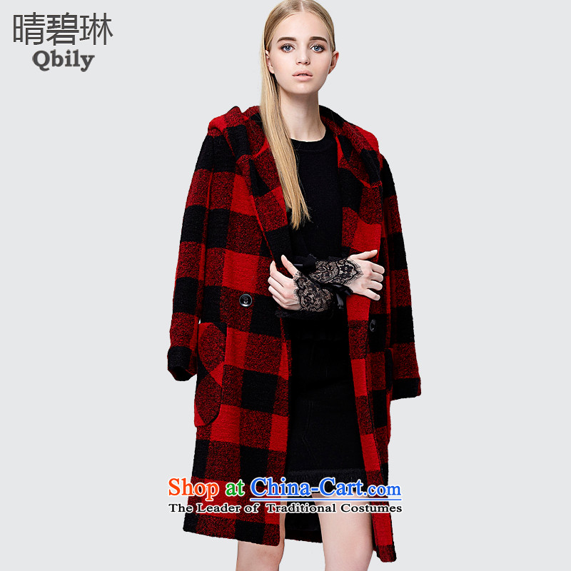 Sunny Pik Lam 2015 autumn and winter new products for women is a gross ball decorated in antique plaid long wool coat red L?