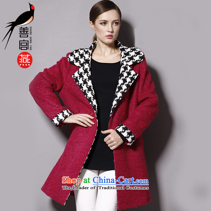 Good Palace Yan 2015 Fall_Winter Collections of the new Europe and increase women's code thick wool coat in mm? Long lapel a wool coat5XL red