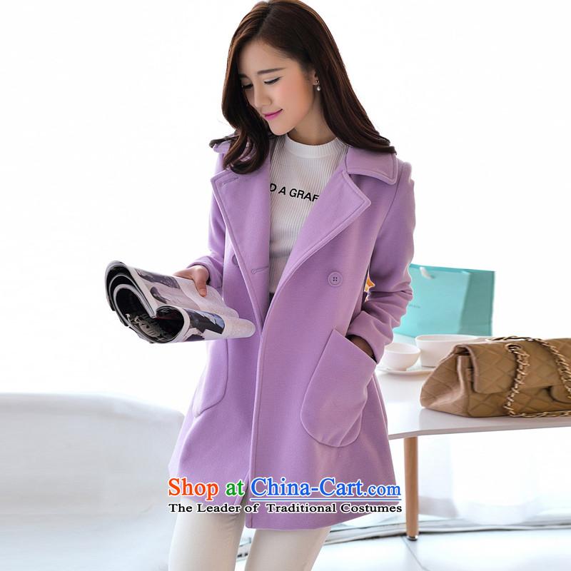 El Wire Cayman 2015 autumn and winter in new women's long cloak-jacket coat NRJ8869 gross? light purple聽M