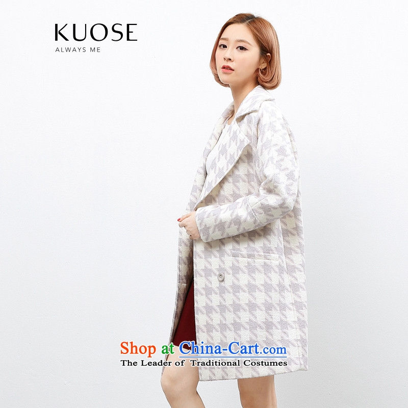 Wide Color Gamut 2015 autumn and winter new Korean female suits for thousands of birds, long thick?? Jacket coat gross light violet chidori.燬