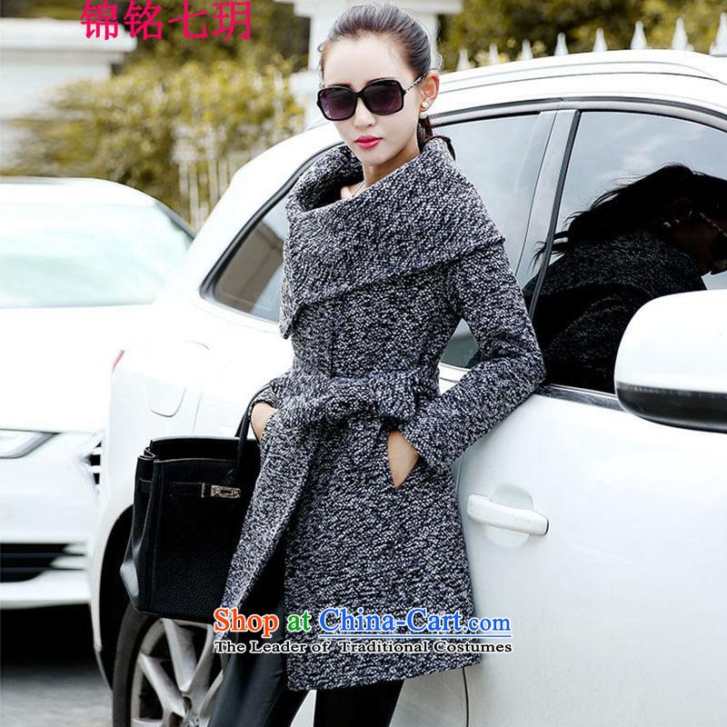Kam Ming Yue larger female 7 jackets forwinter 2015 gross?   a female jacket coat in long han bum coarse wool terylene gross Ms.? coats windbreaker ma grayM