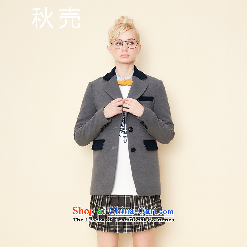 Autumn 2015 autumn and winter ? lapel new coin knocked color core shuai neutral wind-Straight Jacket 5543210087? style gray燬 autumn housing