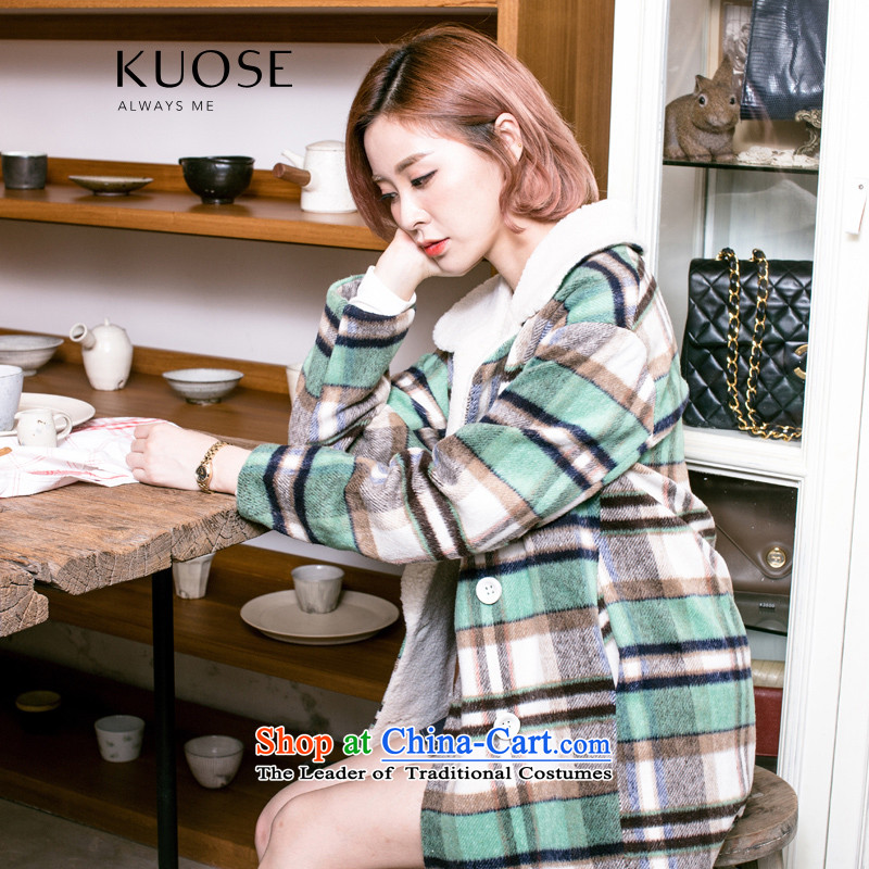 Wide Color Gamut 2015 autumn and winter new Korean women in a compartment of the lambs for thick coat is lint-free hair? All The Green Grid燬 Jacket
