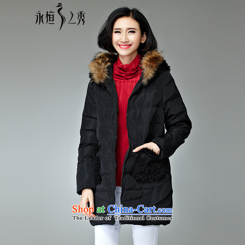 The Eternal Soo-To increase the number of women serving on cotton jacket, Hin in thin long Korean version 2015 winter clothing new product expertise for gross cotton-MM sister autumn and winter coats�L black