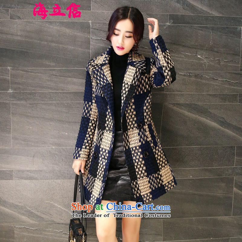 Letter alite 2015 autumn and winter the new Europe and the large segments of the Korean version of gross? jacket in Sau San video thin long hair color picture female coat? M