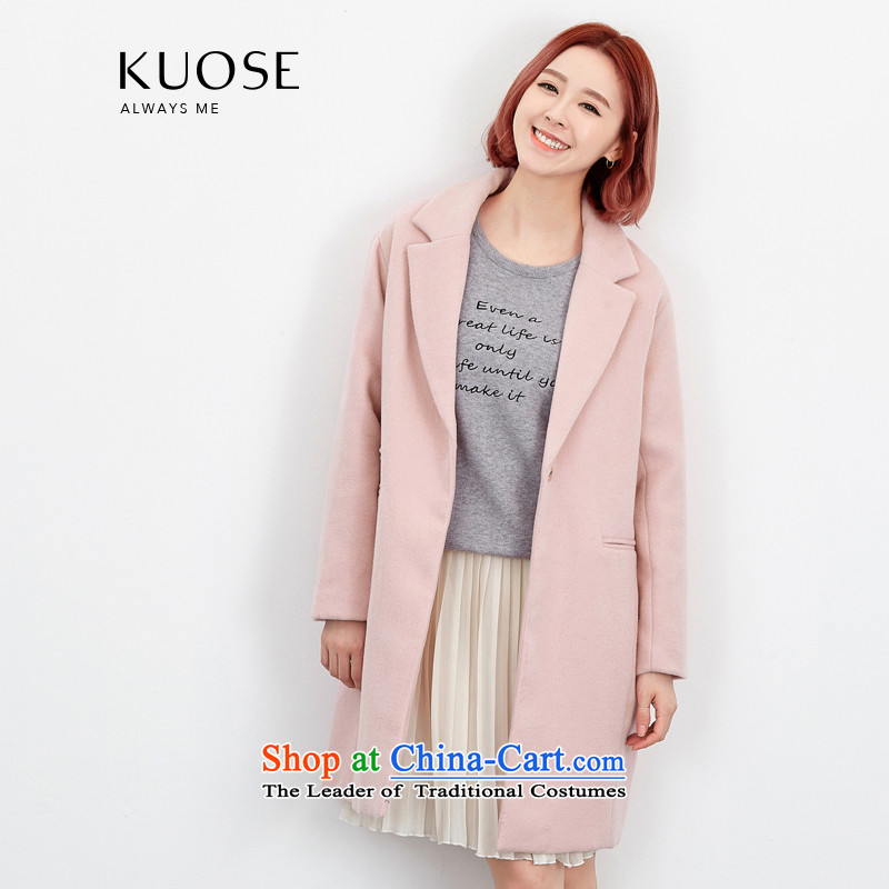 Wide Color Gamut 2015 autumn and winter new Korean women in pure color long suit for wild thick hair?? coats jacket pale pink S