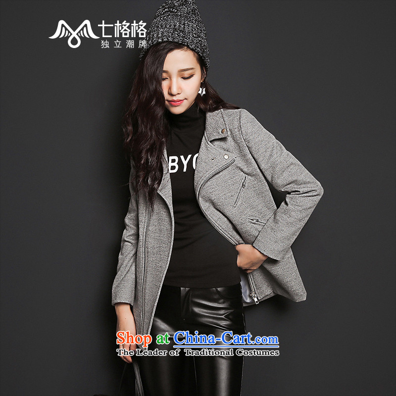 7 Huan�15 autumn and winter new lapel loose pure color coats female gray long-sleeved?燤