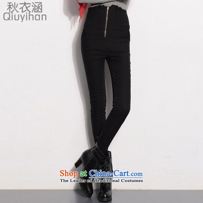 Adam Cheng Yi covered by the�15 autumn and winter new stretch the lint-free high-thick Waist Trousers Sau San video zipper calf thin outer wearing trousers, forming the Women�28 EDK-60 Screwdriver燽lack thin,燲XL