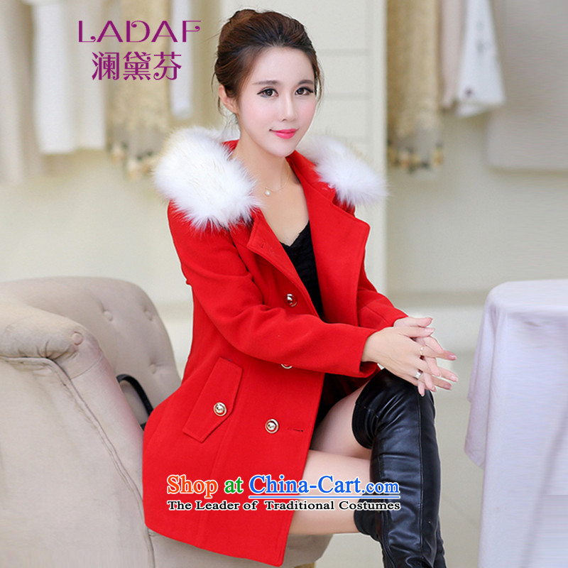 The World 2015 autumn and winter fun Doi New Sau San in long cap thick hair? Women 1068 Red Jacket  XL