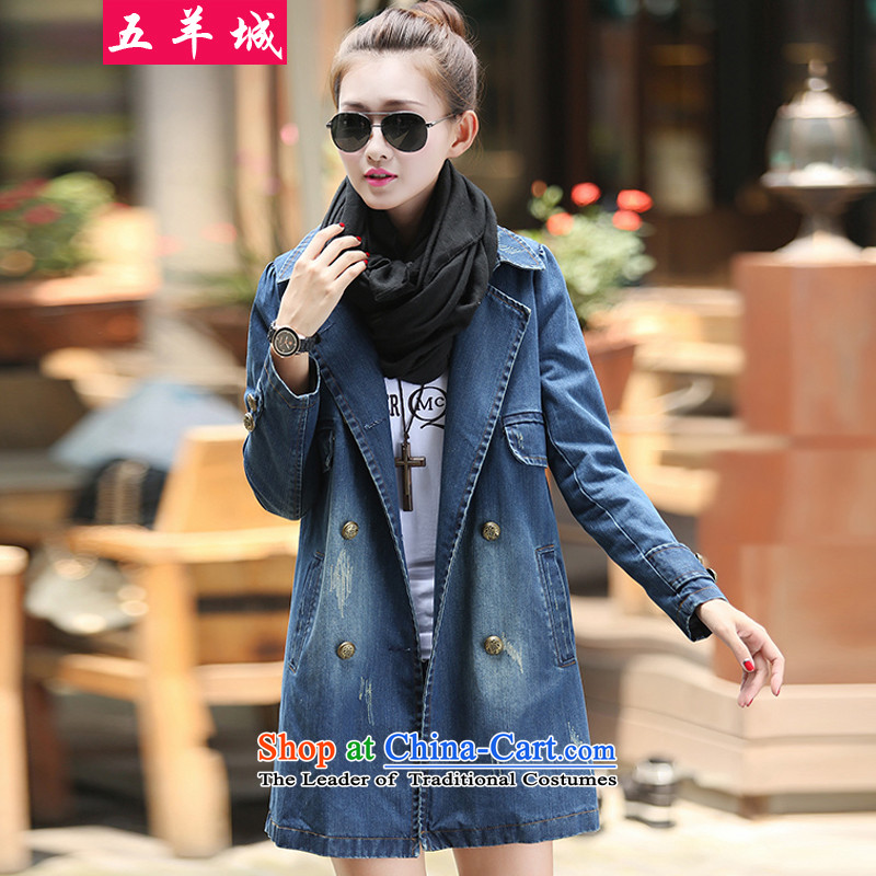 Five Rams City larger COAT 2015 autumn and winter new larger cowboy shirt thick sister to increase women's code for larger video thin cowboy jacket blue�L 382 recommendations about 180-200