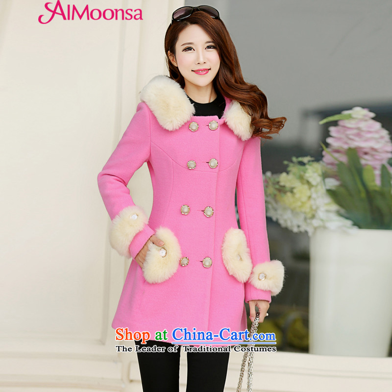 Small stylish Heung-aimoonsa double-gross autumn and winter coats? female new nagymaros collar cap gross women coats of sweet? a wool coat pink L